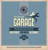 image of garage  - Garage vintage poster for premium car service - JPG