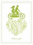 stock photo of tandem bicycle  - Vector abstract swirls texture couple on tandem bicycle heart silhouette frame pattern greeting card template graphic design - JPG