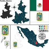 stock photo of poblano  - Vector map of state Puebla with coat of arms and location on Mexico map - JPG