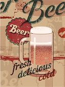 image of drawing beer  - Vintage style poster with a beer mug - JPG