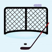 pic of ice hockey goal  - ice hockey net gate with hockey stick and puck eps10 - JPG