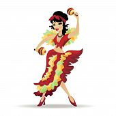 stock photo of maracas  - Illustration of beautiful latina dancer with maracas isolated on white - JPG