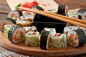 picture of sushi  - Sushi Set on wooden table - JPG