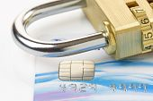 pic of debit card  - Close up of a credit or debit card with padlock - JPG