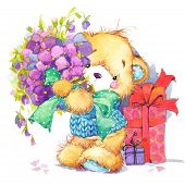 stock photo of teddy  - background for holiday greetings - JPG