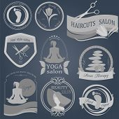 stock photo of cosmetology  - Set of vintage hairstyle body care and cosmetology logos - JPG