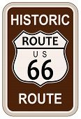 picture of traffic sign  - Historic Route 66 traffic sign with the legend HISTORIC ROUTE US 66 - JPG