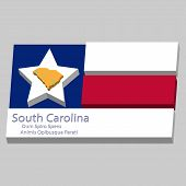 stock photo of south american flag  - the outline of the state of South Carolina and its motto is depicted on the background of a small part of the flag of the United States of America - JPG