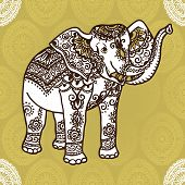 picture of mehendi  - Elephant with a traditional pattern in the style of mehendi - JPG