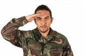 picture of salute  - hispanic military man wearing uniform saluting isolated on white - JPG