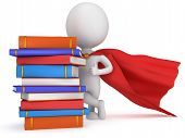 picture of cloak  - Brave superhero student with red cloak and colored books - JPG