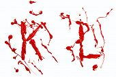 stock photo of letter k  - Letter k and l painted red paint - JPG