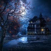 stock photo of mystery  - mysterious house in the night with the moon illuminating the scenery - JPG