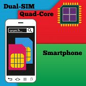 stock photo of micro-sim  - Dual SIM smartphone with quad - JPG