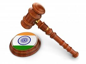 picture of indian flag  - 3d wooden mallet and Indian flag - JPG