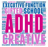foto of prone  - ADHD word cloud on a white background - JPG