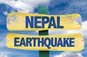 stock photo of nepali  - Nepal Earthquake sign with sky background - JPG