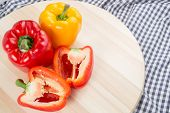 picture of yellow-pepper  - Red and Yellow sweet bell peppers for cook - JPG