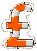 stock photo of economy  - Vector lifebuoy in the shape of a Pound sterling sign is a symbol of economy saving by investment fund to provide economy growth - JPG