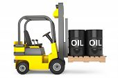 foto of truck-cabin  - Forklift Truck with Oil Barrels over Pallet on a white background - JPG