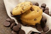 picture of chocolate-chip  - sweet tasty cookies with chocolate chips on the table - JPG