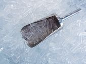 pic of ice-cubes  - close up ice cubes and stainless ice scoop - JPG