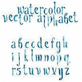 picture of hand alphabet  - Colorful watercolor aquarelle font type handwritten hand drawn doodle abc alphabet letters vector - JPG