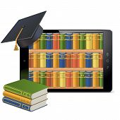 foto of glossary  - Tablet pc with bookshelves isolated on white background - JPG