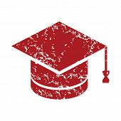 pic of graduation  - Red grunge graduate cap logo on a white background - JPG