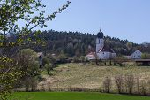 stock photo of bavaria  - The church of Wiefelsdorf next to Schwandorf in bavaria on a sunny day in spring - JPG
