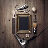 picture of barber razor  - Picture Frame And Vintage Barber Tools on the wood background - JPG