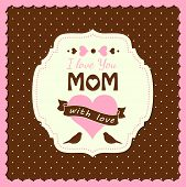 image of i love you mom  - illustration with text I love you mom mothers day theme vector illustration eps 10 - JPG