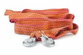image of towing  - Car towing rope with metal hooks isolated on white background - JPG