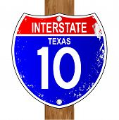 stock photo of texans  - Texas interstate sign 10 over a white background - JPG
