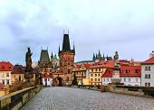 image of old bridge  - The Old Town with Charles bridge in Prague early in the morning - JPG