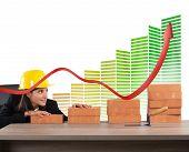 stock photo of efficiencies  - Woman architect currency savings and energy efficiency - JPG