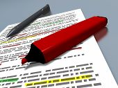 picture of marker pen  - closeup of a red pen marker and a blue ballpoint pen laying on a sheet of paper with some text which is highlighted - JPG