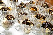 stock photo of hungarian  - delicious chocolate covered traditional hungarian dessert in glass  - JPG