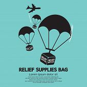 picture of parachute  - Relief Supplies Bag With Parachutes Vector Illustration - JPG