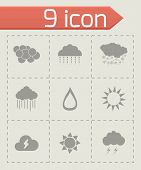 picture of windy weather  - Vector weather icons set on grey background - JPG