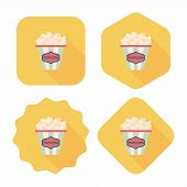 image of popcorn  - Popcorn Flat Icon With Long Shadow - JPG