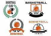 pic of trophy  - Basketball club symbols or emblems templates with orange basketball balls - JPG