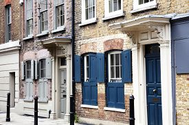 picture of suburban city  - Georgian terraced town houses in Spitafields in the East End of London - JPG