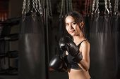 ������, ������: Portrait of sporty fit Asian model of boxing gym