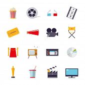 Movie and cinema isolated icons vector set. Collection of 16 flat design cinema and movie themed vec poster