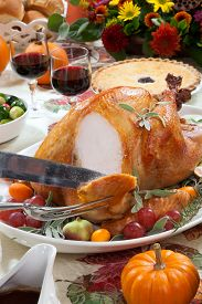 picture of pumpkin pie  - Carving roasted turkey on a server tray garnished with fresh figs grape kumquat and herbs on fall harvest table - JPG