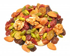picture of mixed nut  - Mixed fruit and nut selection isolated on a white background - JPG