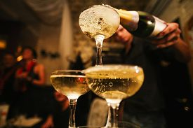 image of champagne color  - mountain glasses of champagne - JPG