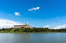 picture of prime-minister  - Prime Minister Office in Putrajaya Malaysia during a blue sunny day - JPG