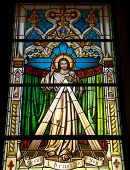 pic of stained glass  - A stained glass window in Gibraltar showing the Lord Jesus Christ - JPG